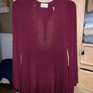 Maroon Deep V Dress